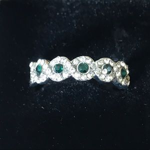 925 Silver Plated Green & White Sapphire Brand
